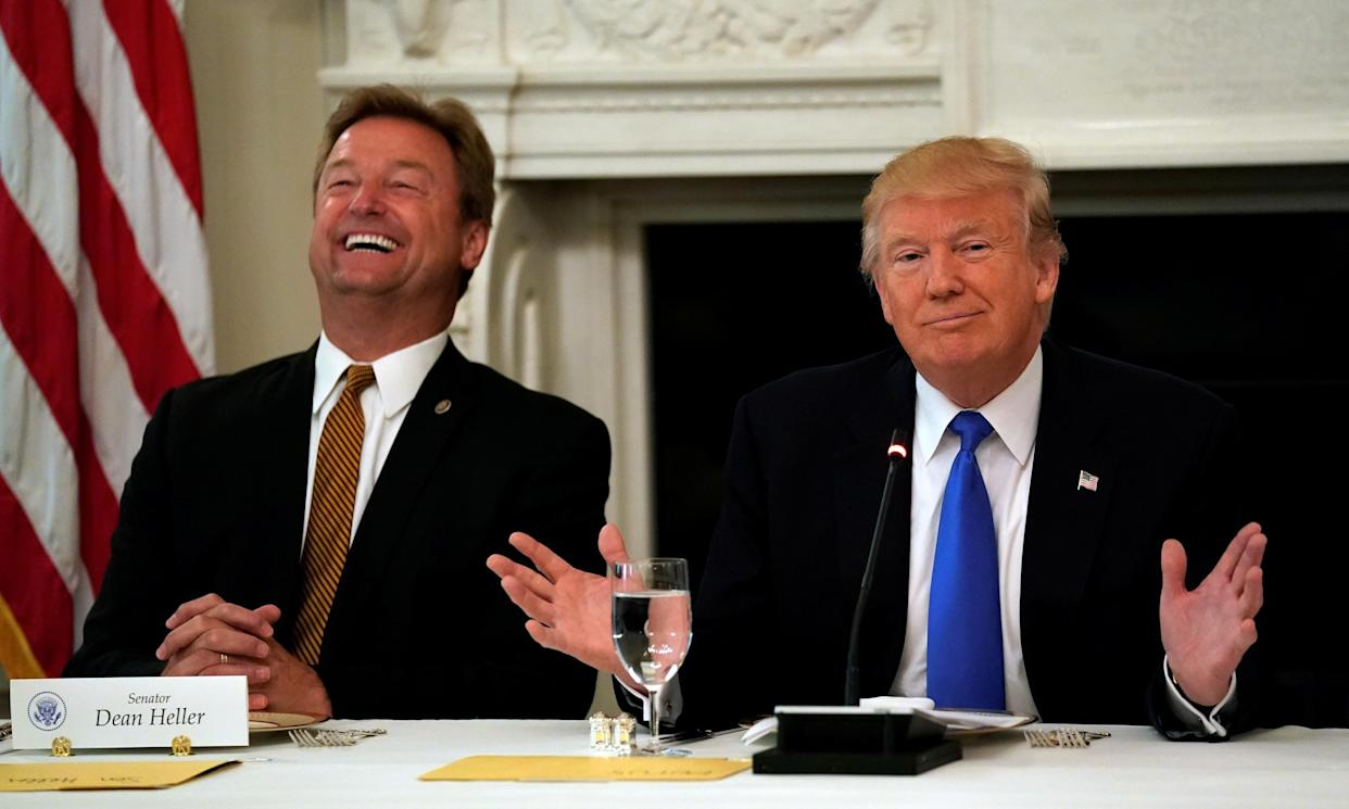 Sen. Dean Heller, R-Nev., with President Trump at the White House. (Photo: Kevin Lamarque/Reuters)