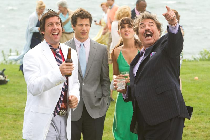 """This film image released by Columbia Pictures shows Adam Sandler, from left, Andy Samberg, Leighton Meester, and Tony Orlando in a scene from """"That's My Boy."""" Sixty-eight-year-old Orlando said in a recent interview that the idea to cast him in the film which opens Friday, came about after running into Sandler at a birthday party for a mutual friend. Two days later Sandler called him up asking if he'd want to appear in his next film. (AP Photo/Columbia Pictures - Sony, Tracy Bennett)"""