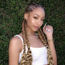 The beauty of goddess braids is you can style them so many ways. Instead of wearing them straight down your back, you can braid them into pigtails for a flirty look.