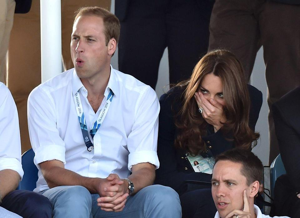 """<p>Kate Middleton has always been a very expressive sports fan. Her and Prince William's faces say it all at Glasgow's Commonwealth Games. </p><p><strong>MORE:</strong> <a href=""""https://www.townandcountrymag.com/society/tradition/g28397730/kate-middleton-sports-face-reaction-photos/"""" rel=""""nofollow noopener"""" target=""""_blank"""" data-ylk=""""slk:Kate Middleton's Best Sports Reactions of All Time"""" class=""""link rapid-noclick-resp"""">Kate Middleton's Best Sports Reactions of All Time</a> </p>"""