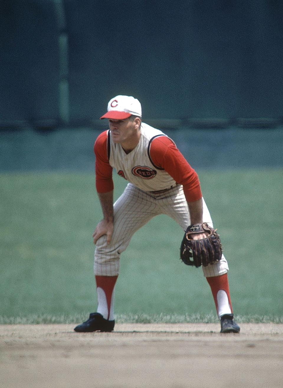 Pete Rose on the field for the Cincinnati Reds during the 1965 season.