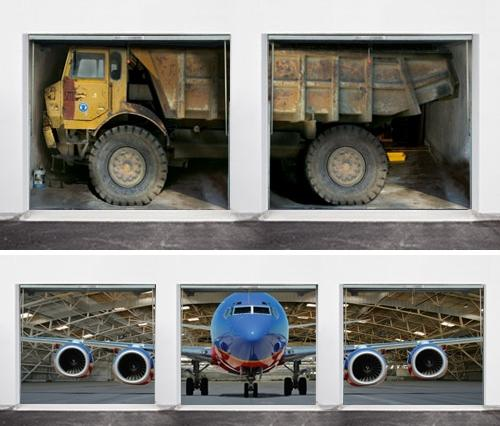 """<b>Dump truck and jet </b><br>(Price: $446 and $635)<br><br> Credit: <a href=""""https://www.style-your-garage.com/us/Garage-mural/?cur=3"""">style-your-garage.com</a>"""