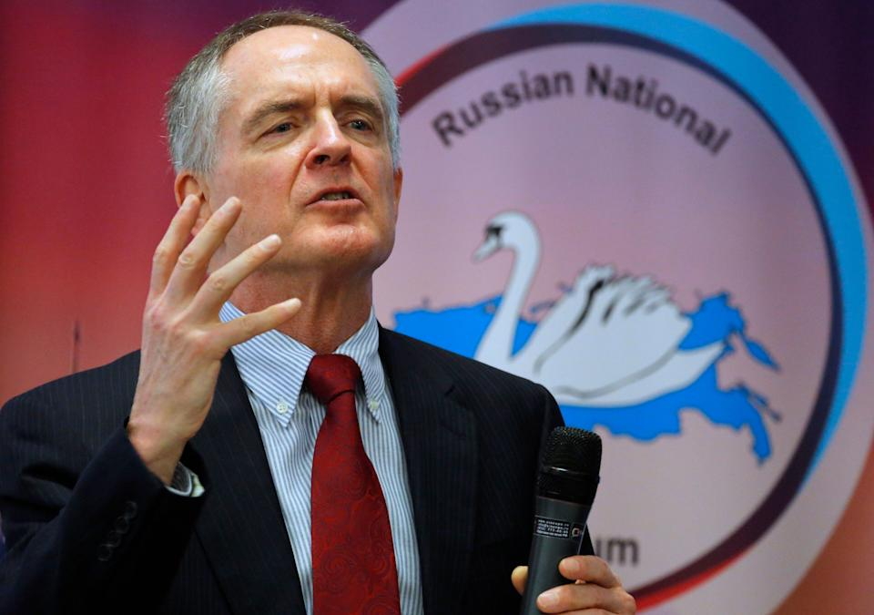"U.S. writer and white supremacist Jared Taylor, author of the book ""White Identity"" speaks during the International Russian Conservative Forum in St. Petersburg, Russia in 2015. (Photo: ASSOCIATED PRESS)"
