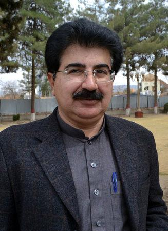Sadiq Sanjrani, independent candidate, walks in at the premises of Baluchistan Assembly building in Quetta