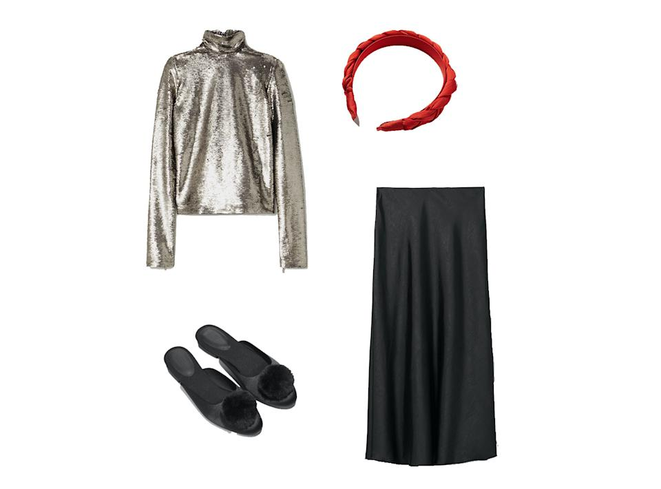 <p>Ioannes, Sequined Jersey Turtleneck Top, £370, Net-a-Porter; Ida Skirt, £40, Weekday; Fayette Plaited Satin Red Headband, £19.50, Oliver Bonas; Pom-Pom Slip-Ons, £69, & Other Stories</p>The Independent