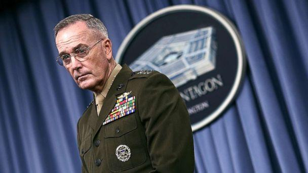 PHOTO: Chairman of the Joint Chiefs of Staff Marine Gen. Joseph F. Dunford Jr. answers questions during a Pentagon briefing, May 19, 2017, in Arlington, Virginia. (Win McNamee/Getty Images)