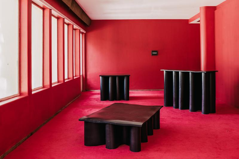 Rubber tables by Brian Thoreen on display at a 2019 installation by MASA.