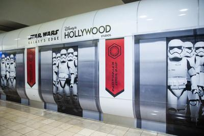First Order Stormtroopers appear to be on a terminal train at Orlando International Airport in Orlando, Fla., Nov. 16, 2019. Disney installed these wraps on the terminal shuttle stations to bring the adventure of Star Wars: Galaxy's Edge at Disney's Hollywood Studios to airport travelers. (Steven Diaz, photographer)