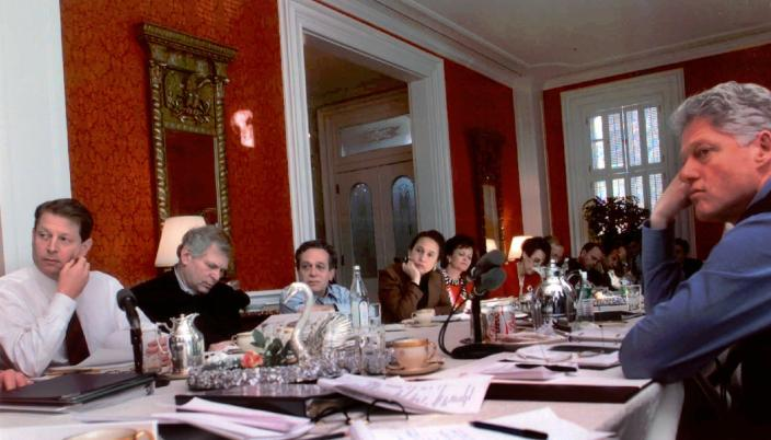 "FILE - In this Jan. 11, 1997, file photo provided by the White House, President Clinton listens during a meeting with his Cabinet members at the Blair House in Washington. From left are Vice President Gore, National Security Adviser to the Vice President Leon Fuerth, Secretary of Labor Robert Reich, Secretary of Labor-designate Alexis Herman, Secretary of Energy Hazel O'Leary, Acting U.S. Trade Representative Charlene Barshefsky, National Security Advisor Anthony Lake, Counselor to the President Thomas ""Mack"" McClarty, Deputy Secretary of the Treasury Lawrence Summers, Chief of Staff to the Vice President Ron Klain, and Secretary of Health and Human Services Donna Shalala. (White House via AP, File)"