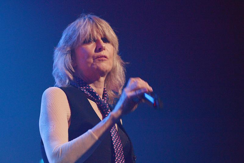 LONDON, ENGLAND - NOVEMBER 24: Singer Chrissie Hynde performs live on stage with the Valve Bone Woe Ensemble as part of EFG London Jazz Festival, at The Royal Festival Hall on November 24, 2019 in London, England. (Photo by Jim Dyson/Getty Images)