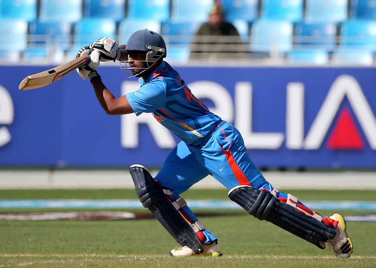 DUBAI, UNITED ARAB EMIRATES - FEBRUARY 15:  Vijay Zol of India bats during the ICC U19 Cricket World Cup 2014 match between India and Pakistan at the Dubai Sports City Cricket Stadium on February 15, 2014 in Dubai, United Arab Emirates.  (Photo by Francois Nel - IDI/IDI via Getty Images)