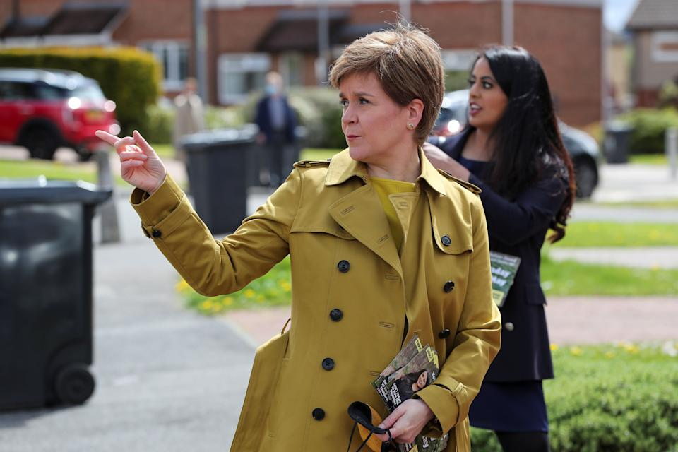 AIRDRIE, SCOTLAND - MAY 12: First Minister Nicola Sturgeon and SNP candidate Anum Qaisar-Javed during a visit to Airdrie ahead of a by-election on May 12, 2021 in Airdrie, Scotland. (Photo by Russell Cheyne - Pool/Getty Images) (Photo: Pool via Getty Images)