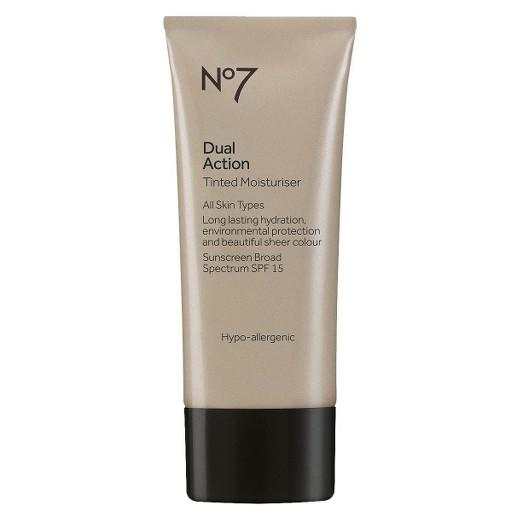 """<strong>Boots No7 Dual Action Tinted Moisturiser</strong>  This drugstore brand has pretty mucheverything, including anti-aging creams, under eye treatments, lightening and brightening products. They also sell color cosmetics and this product combines the two. With an SPF of 15, Boots formulated <a rel=""""nofollow"""" href=""""https://www.target.com/p/no7-dual-action-tinted-moisturiser/-/A-14499612"""">a daily moisturizer</a> that's fixed with either a light or medium toned pigment to blur away imperfections and even out skin tone."""
