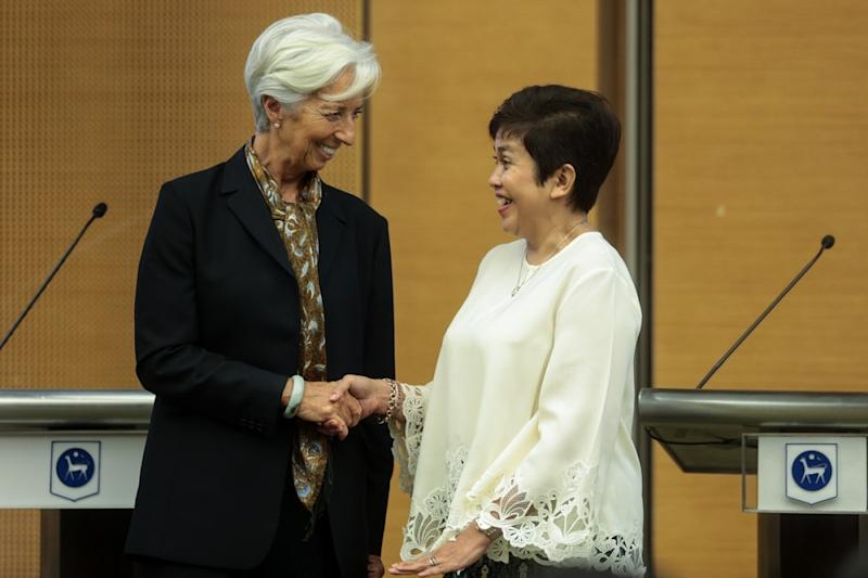 International Monetary Fund managing director Christine Lagarde (left) and Bank Negara governor Datuk Nor Shamsiah Mohd Yunus at a press conference in Sasana Kijang June 24,2019. — Picture by Ahmad Zamzahuri
