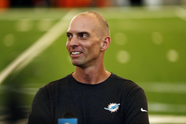 The Miami Dolphins fired offensive coordinator Chad O'Shea and two other assistant coaches on Monday. (AP/Brynn Anderson)