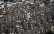 Rows of houses are seen in North Kensington, London