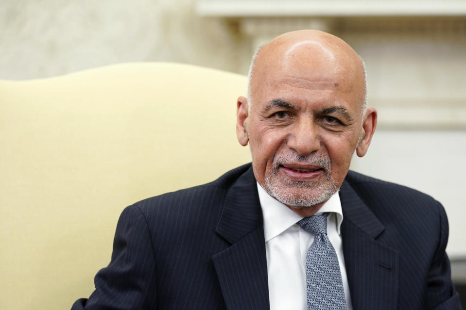 Afghan President Ashraf Ghani speaks during a meeting with President Joe Biden in the Oval Office of the White House in Washington, Friday, June 25, 2021. (AP Photo/Susan Walsh)