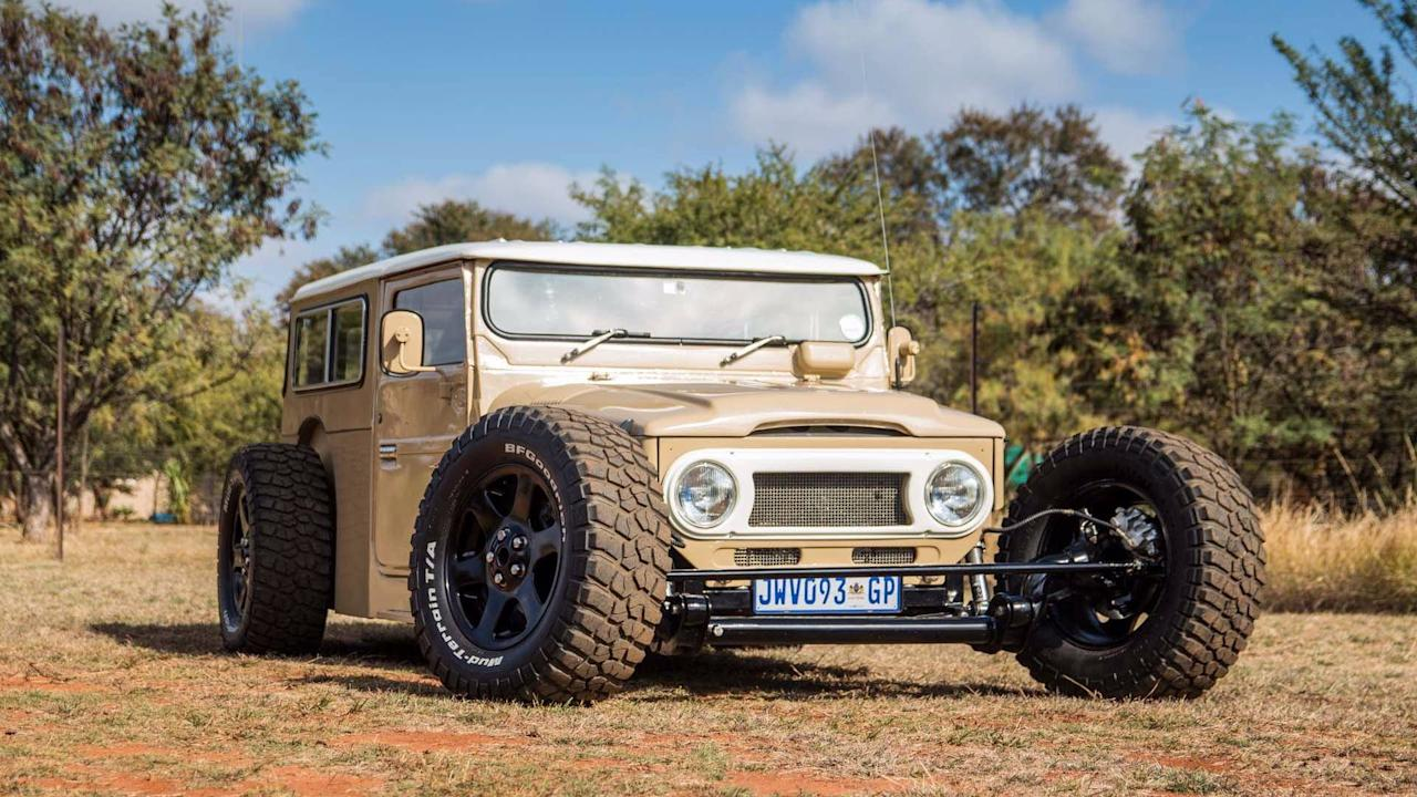 "<p>It is no coincidence that this Hot Rod came from a rugged, hirsute country like South Africa. It is based on a 1976 <a rel=""nofollow"" href=""https://uk.motor1.com/toyota"">Toyota</a> Land Cruiser FJ40, and it won't stop for anything or anyone. </p> <p>More than 1,200 hours have been invested in its development, with improvements including a Lexus V8 that's been bolted into the back. That sends its 300 horsepower might to the wheels through the matching Lexus five-speed automatic.</p><h2>Check out these automotive hotpots:</h2><ul><li><a rel=""nofollow"" href=""https://uk.motor1.com/news/185204/crazy-car-mashups/?utm_campaign=yahoo-feed"">You'll love or hate these crazy car mashups</a></li><br><li><a rel=""nofollow"" href=""https://uk.motor1.com/features/297361/supercars-as-rally-cars/?utm_campaign=yahoo-feed"">Seven supercars (and a super dud) rendered as unlikely rally cars</a></li><br></ul>"