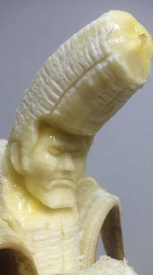 Yamada's work is short-lived. The bizarre artist said it takes 30 minutes to sculpt the bananas, takes a photograph, posts it online and then eats the final masterpiece before it starts to rot.