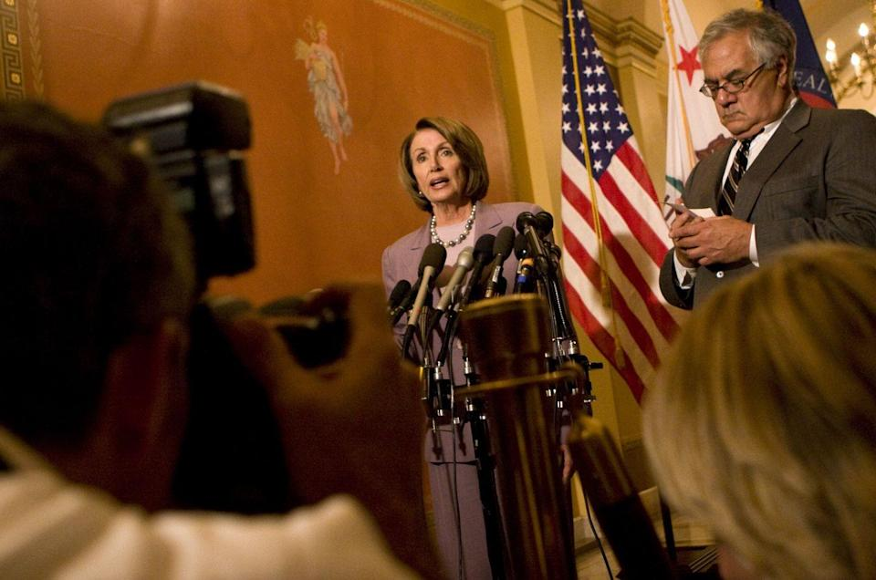 <p>Pelosi discussing the financial crisis bailout in 2008.</p>