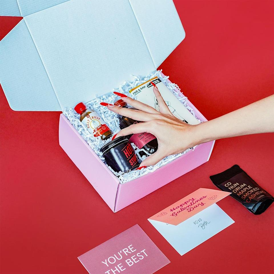 """<p>Send a curated <a href=""""https://happyboxstore.com/collections/happy-boxes/products/galentines-box"""" rel=""""nofollow noopener"""" target=""""_blank"""" data-ylk=""""slk:care package"""" class=""""link rapid-noclick-resp"""">care package</a> to a friend filled with fun, unique items that are perfect for any occasion — from celebrating Galentine's Day to getting over a breakup. You'll definitely make someone very happy.</p> <p><strong>$53, <a href=""""https://happyboxstore.com/collections/happy-boxes/products/galentines-box"""" rel=""""nofollow noopener"""" target=""""_blank"""" data-ylk=""""slk:happyboxstore.com"""" class=""""link rapid-noclick-resp"""">happyboxstore.com</a></strong></p>"""