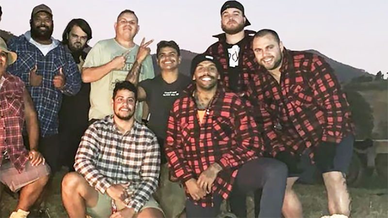Latrell Mitchell and Josh Addo-Carr, pictured here appearing to flout social-distancing guidelines.