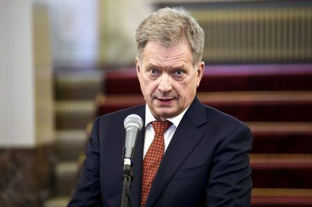 Finland's President Niinisto delivers remarks on the International Arctic Forum during a media conference at the Presidential Palace in Helsinki