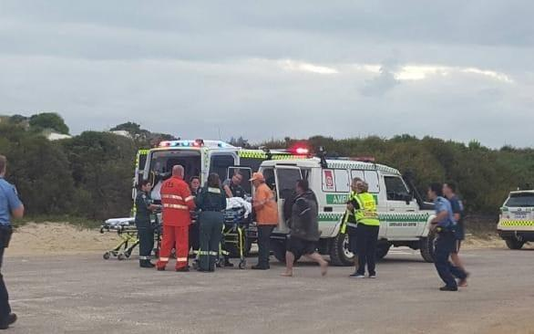 The girl is placed in an ambulance after being attacked near Bandy Creek Esperance. - Twitter