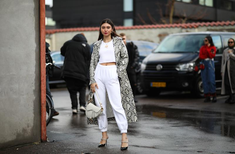 COPENHAGEN, DENMARK - JANUARY 30: Milena Karl wearing Jimmy Choo heels, Dior saddle bag and a Stand Studio coat before Stand Studio on January 30, 2020 in Copenhagen, Denmark. (Photo by Jeremy Moeller/Getty Images)