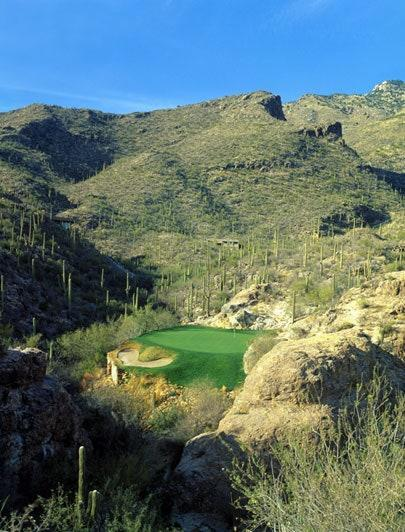 <p>Hole In The Wall: No. 3, 107/104/98/67 yards</p> <p>When he built it in the early 1980s, Tom Fazio admitted it was the shortest and most expensive hole he had done. (Original reports of a $400,000 price tag have now grown to more than $1 million, such being the inflation of distant memory.) The cart path alone, climbing several hundred feet from the second green, had to cost a bundle. The tee boxes atop pinnacles of granite and the tiny green tucked at the edge of an abyss were built by hand, the latter with geothermal tubing beneath it to keep it warm on cool mornings. Tom Watson once four-putted the original two-level putting surface. It was subsequently rebuilt and flattened.</p>