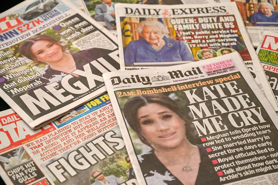 <p>Some newspapers suggested the couple was deliberately trying to cause the royal family harm</p> (AFP via Getty Images)
