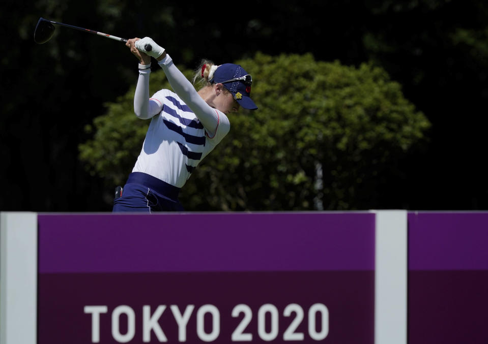 Nelly Korda, of the United States, hits a tee shot on the 14th hole during the second round of the women's golf event at the 2020 Summer Olympics, Thursday, Aug. 5, 2021, at the Kasumigaseki Country Club in Kawagoe, Japan. (AP Photo/Matt York)