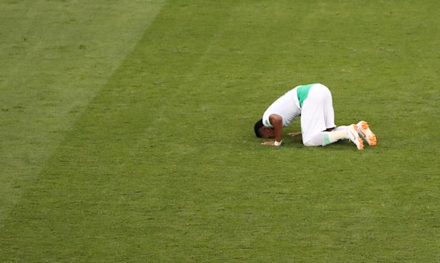 Soccer Football - World Cup - Group A - Uruguay vs Saudi Arabia - Rostov Arena, Rostov-on-Don, Russia - June 20, 2018 Saudi Arabia's Ali Al-Bulaihi reacts after the match REUTERS/Marcos Brindicci TPX IMAGES OF THE DAY