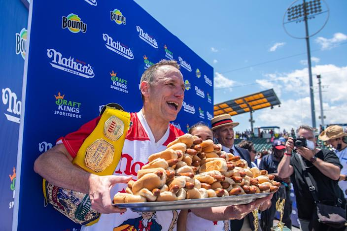 Joey Chestnut won his 14th Nathan's Famous Hot Dog Eating Contest on Sunday (AP)