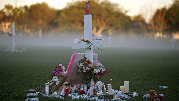 PHOTO:FILE PHOTO: Candles rest on a cross after a nighttime vigil for victims of the Feb. 14, 2018 mass shooting at Marjory Stoneman Douglas High School, at Pine Trail Park, on Feb. 16, in Parkland, Fla. (Mark Wilson/Getty Images)