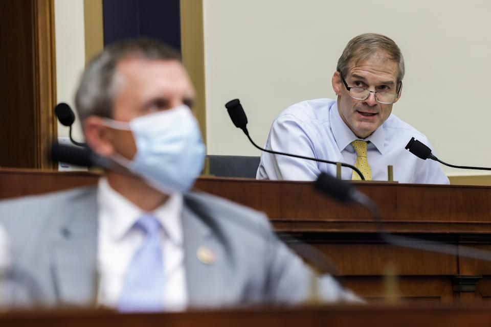 """Congressman Jim Jordan, (R-OH), speaks during a hearing of the House Judiciary Subcommittee on Antitrust, Commercial and Administrative Law on """"Online Platforms and Market Power"""", in the Rayburn House office Building on Capitol Hill, in Washington, U.S., July 29, 2020. Graeme Jennings/Pool via REUTERS"""