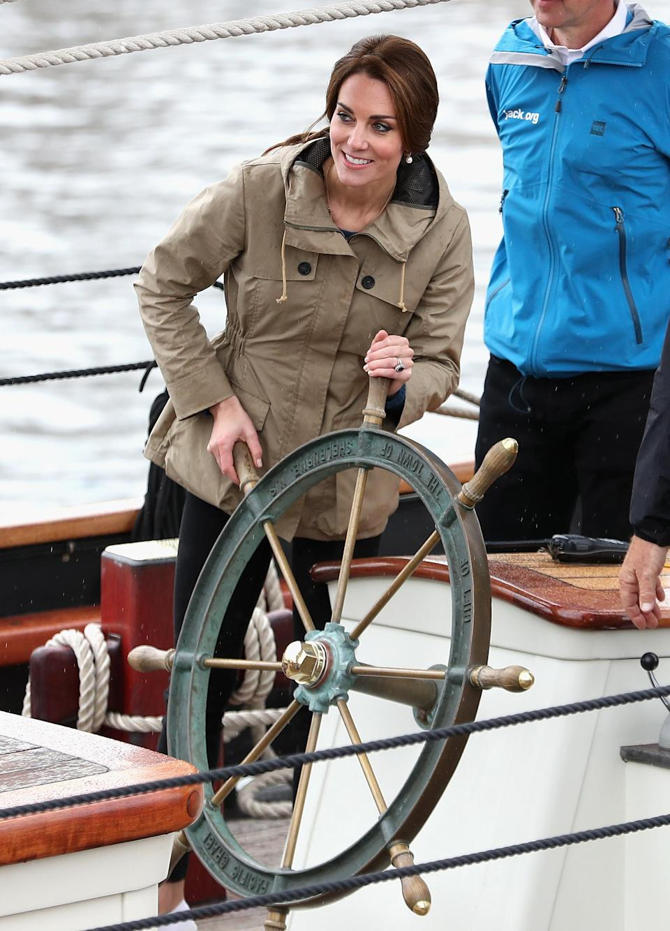 <p>The Duchess of Cambridge manned the wheel of the Pacific Grace during Royal Tour of Canada back on October 1 2016. <em>[Photo: Getty]</em> </p>