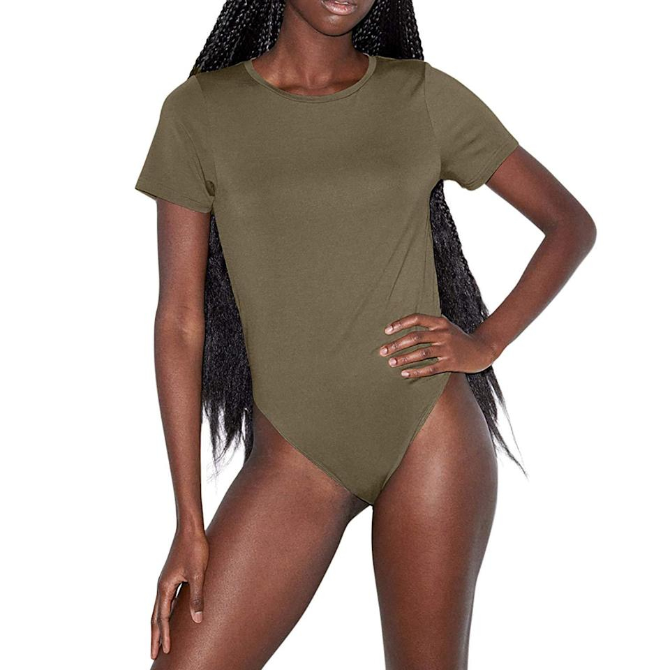 """<h3><h2>American Apparel Modal Bodysuit</h2></h3><br>This short-sleeve T-shirt style bodysuit gets high ratings due to its insanely soft feel.<br><br><strong>American Apparel</strong> Mix Modal Short Sleeve T-Shirt Bodysuit, $, available at <a href=""""https://amzn.to/2TonHp3"""" rel=""""nofollow noopener"""" target=""""_blank"""" data-ylk=""""slk:Amazon"""" class=""""link rapid-noclick-resp"""">Amazon</a>"""