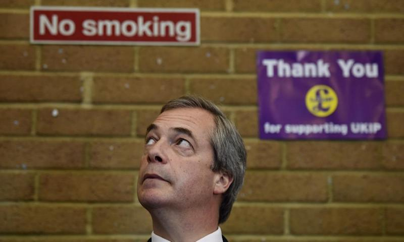 (FILES) This file photo taken on April 13, 2015 shows UK Independence Party (UKIP) leader Nigel Farage attending a coffee morning at Coppins Community Centre in Clacton-On-Sea in Essex on April 13, 2015 during a general election campaign visit. Nigel Farage, former leader of the anti-EU UK Independence Party (UKIP) announced on April 20 that he would not run for the next parliamentary elections on June 8 in the UK. / AFP PHOTO / BEN STANSALLBEN STANSALL/AFP/Getty Images