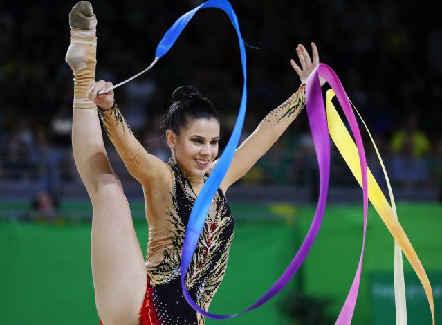 Rhythmic Gymnastics - Gold Coast 2018 Commonwealth Games - Individual Ribbon Final - Coomera Indoor Sports Centre - Gold Coast, Australia - April 13, 2018. Diamanto Evripidou of Cyprus. REUTERS/David Gray