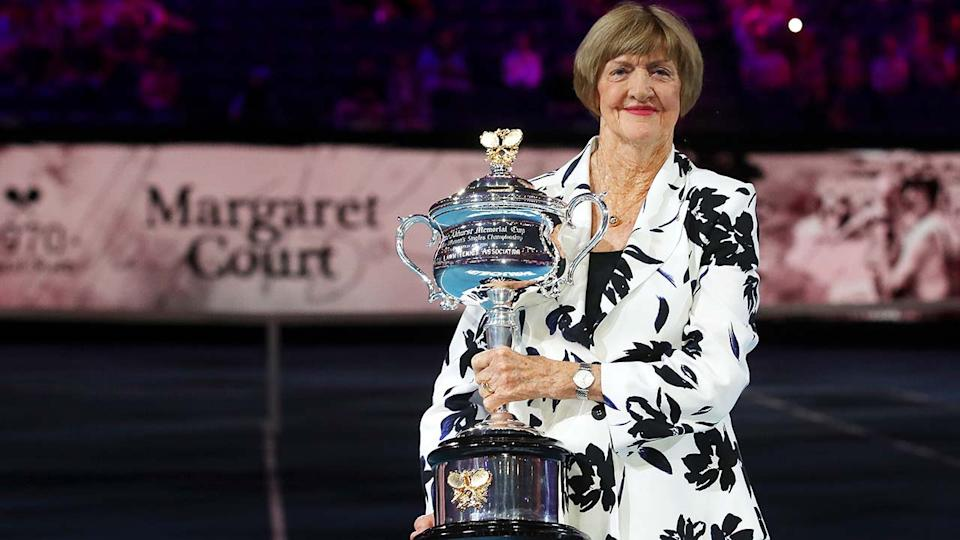 Margaret Court, pictured here being honoured at the Australian Open in 2020.