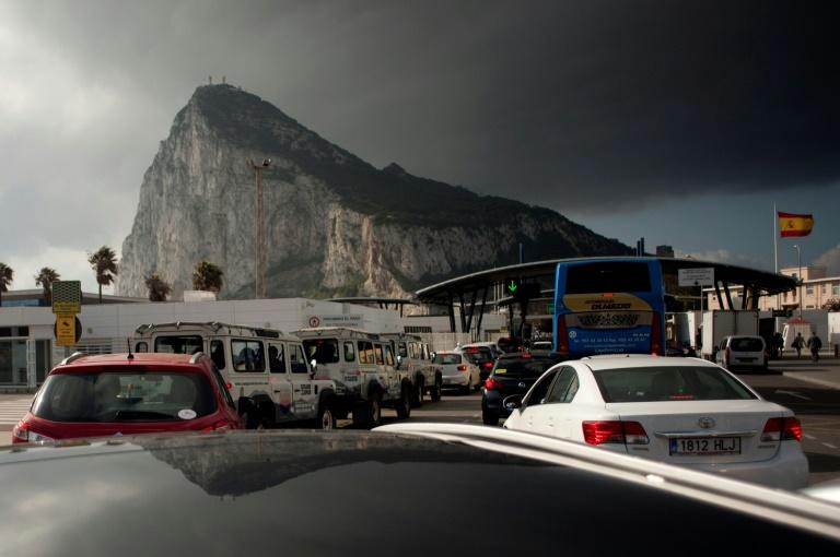Vehicles queue at the border of the  British Colony of Gibraltar in La Linea de la Concepcion on April 6, 2017
