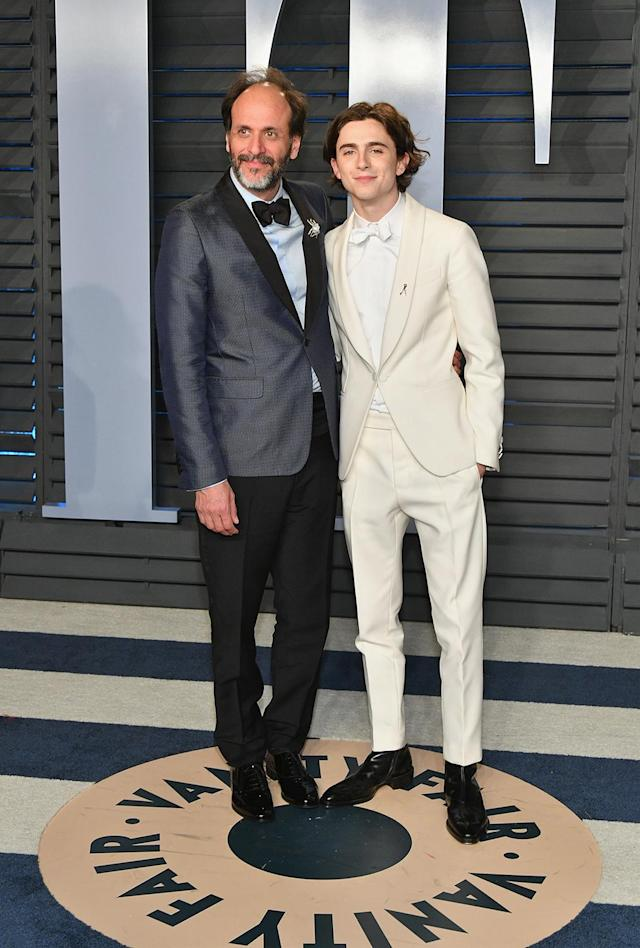 <p>Rocking a white Berluti tuxedo, Best Actor nominee Chalamat joined his <em>Call Me by Your Name</em> director for the <em>Vanity Fair</em> after-party. (Photo: Dia Dipasupil/Getty Images) </p>