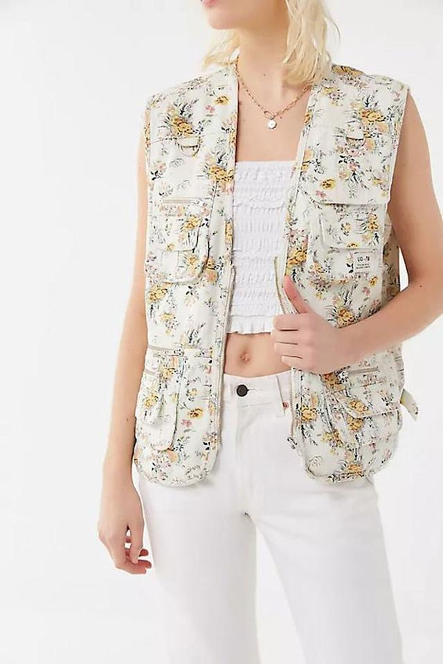 """Florals can be groundbreaking when you add them to an edgy utility vest. $99, Urban Outfitters. <a href=""""https://www.urbanoutfitters.com/shop/bdg-floral-utility-vest?category=SEARCHRESULTS&color=015&type=REGULAR"""">Get it now!</a>"""