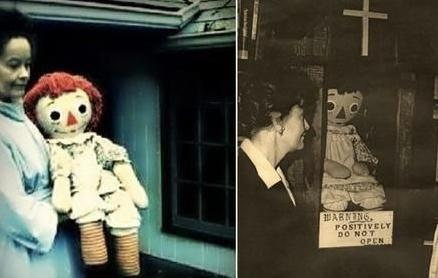 Lorraine Warren with the demonic Raggedy Ann who'd end up behind glass in her museum. Source: Warrens.net
