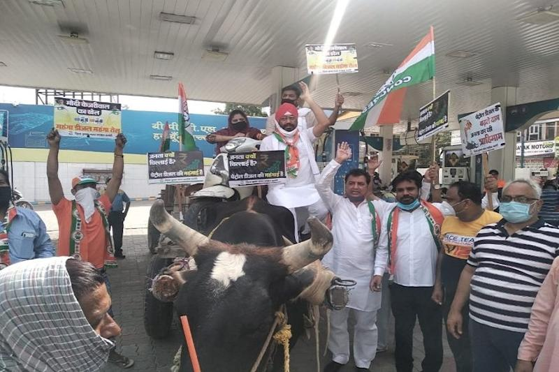 Fuel Price Hike: Cong Leaders, Workers Protest with Bullock and Horse Carts; Accuse Govt of 'Extortion'