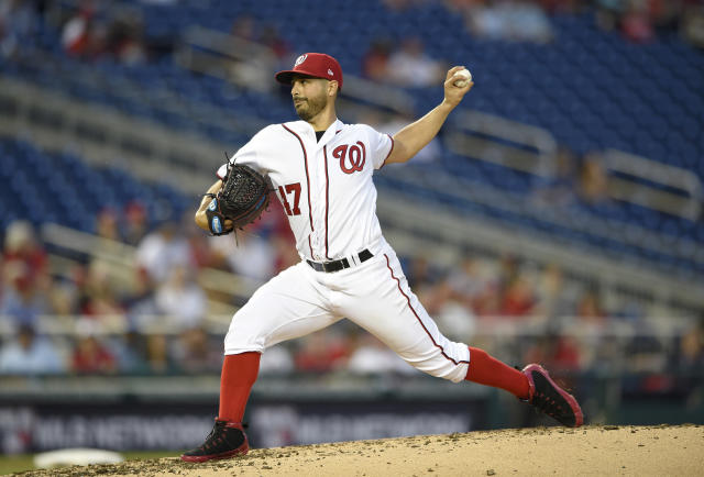 Washington Nationals starting pitcher Gio Gonzalez delivers during the fifth inning of a baseball game against the San Diego Padres, Monday, May 21, 2018, in Washington. (AP Photo/Nick Wass)