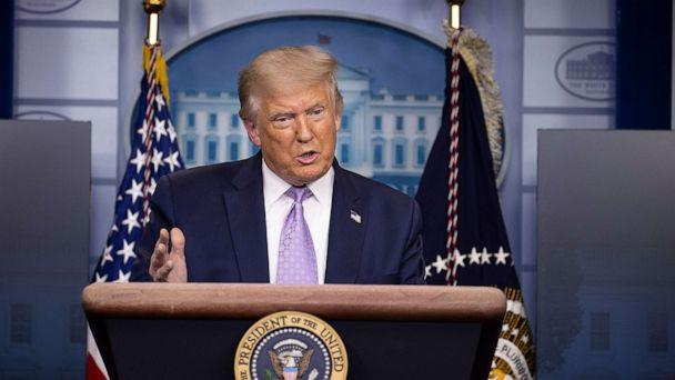 PHOTO: President Donald Trump speaks during a briefing at the White House Aug. 13, 2020, in Washington, DC. (Tasos Katopodis/Getty Images)