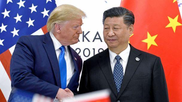 PHOTO: FILE - In this June 29, 2019, file photo, U.S. President Donald Trump, left, shakes hands with Chinese President Xi Jinping during a meeting on the sidelines of the G-20 summit in Osaka, western Japan. (Susan Walsh/AP, File)