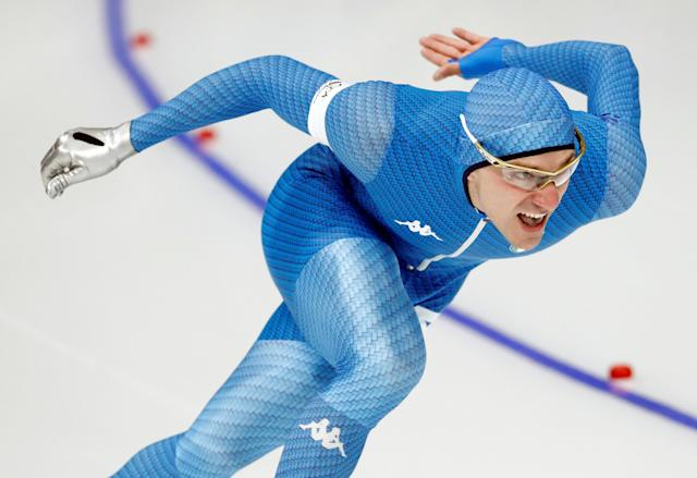 """Speed Skating - Pyeongchang 2018 Winter Olympics - Men's 1000m competition finals - Gangneung Oval - Gangneung, South Korea - February 23, 2018 - Mirko Giacomo Nenzi of Italy competes. REUTERS/Damir Sagolj SEARCH """"OLYMPICS BEST"""" FOR ALL PICTURES. TPX IMAGES OF THE DAY."""